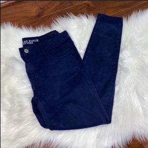 NWOT AEO Sateen Navy Blue Skinny Jeans Size 10